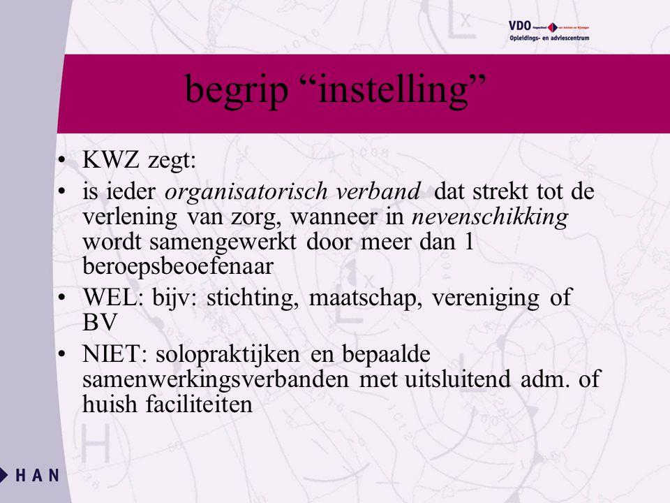 begrip instelling KWZ zegt: