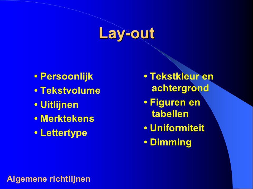 Lay-out • Persoonlijk • Tekstvolume • Uitlijnen • Merktekens