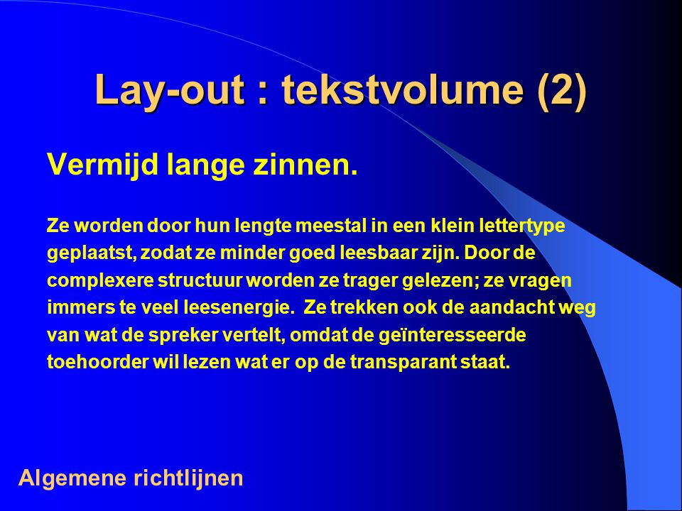 Lay-out : tekstvolume (2)
