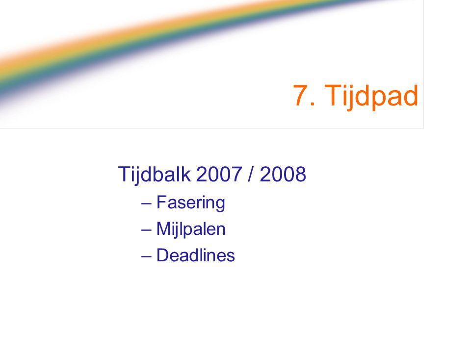 7. Tijdpad Tijdbalk 2007 / 2008 Fasering Mijlpalen Deadlines