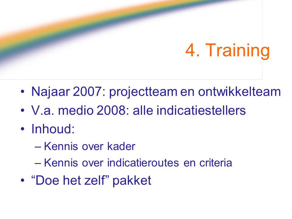4. Training Najaar 2007: projectteam en ontwikkelteam