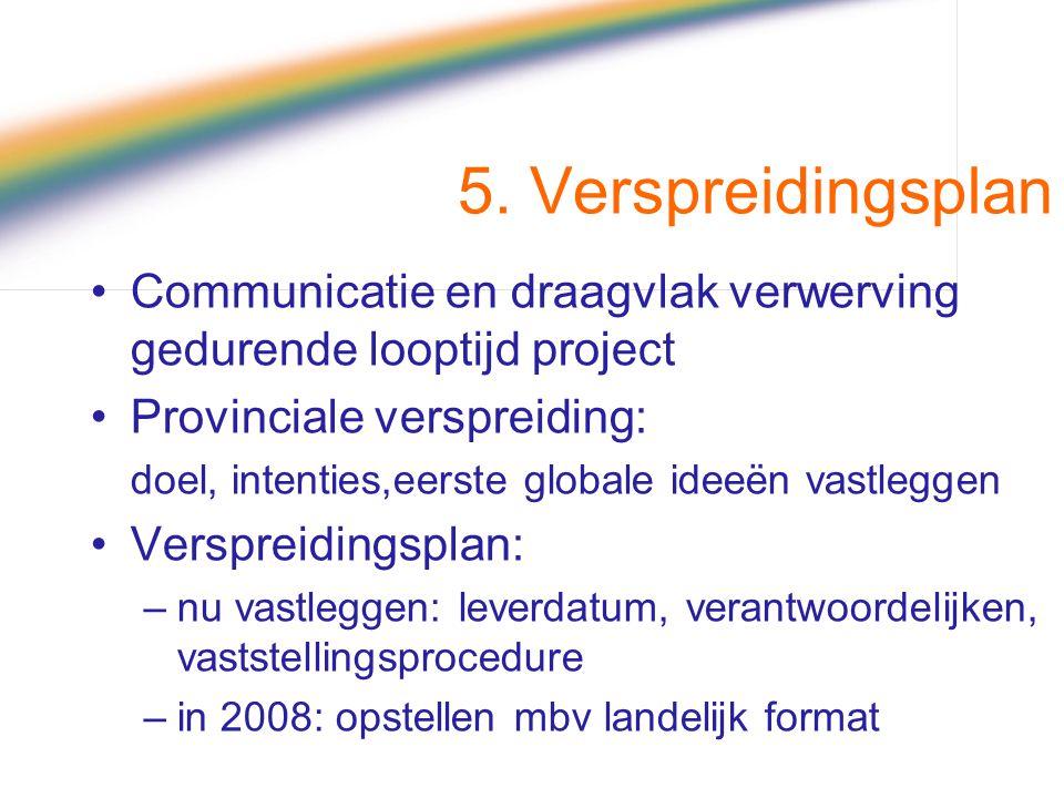 5. Verspreidingsplan Communicatie en draagvlak verwerving gedurende looptijd project. Provinciale verspreiding: