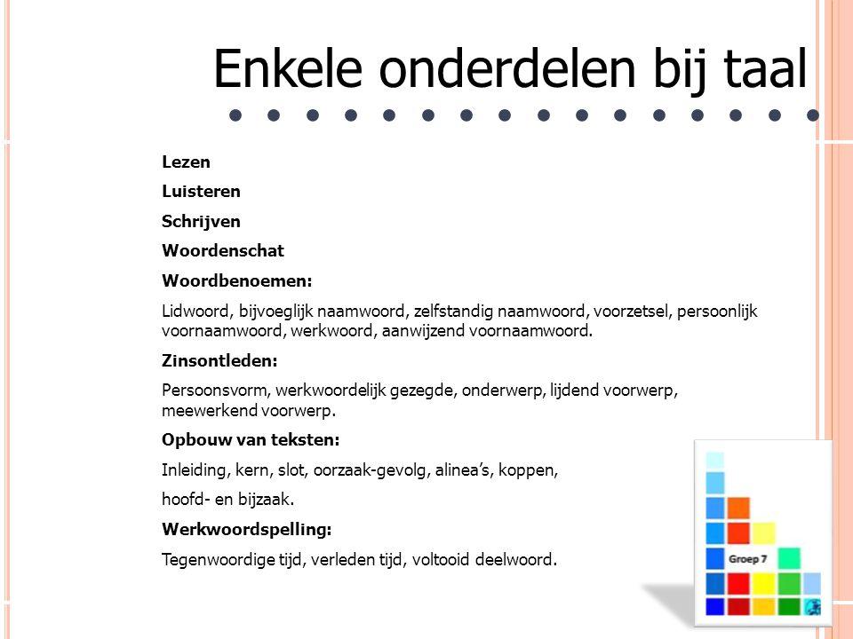 Enkele onderdelen bij taal