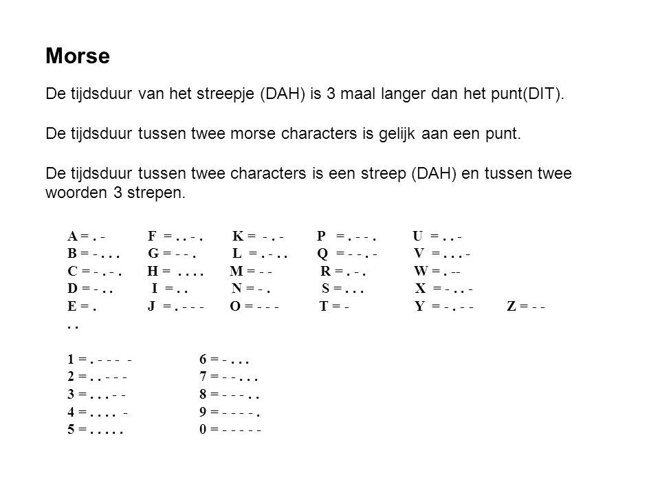 Morse De tijdsduur van het streepje (DAH) is 3 maal langer dan het punt(DIT). De tijdsduur tussen twee morse characters is gelijk aan een punt.
