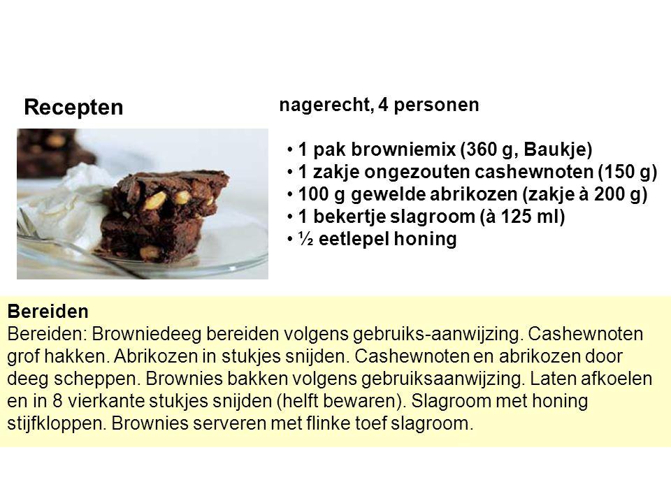 Recepten nagerecht, 4 personen 1 pak browniemix (360 g, Baukje)