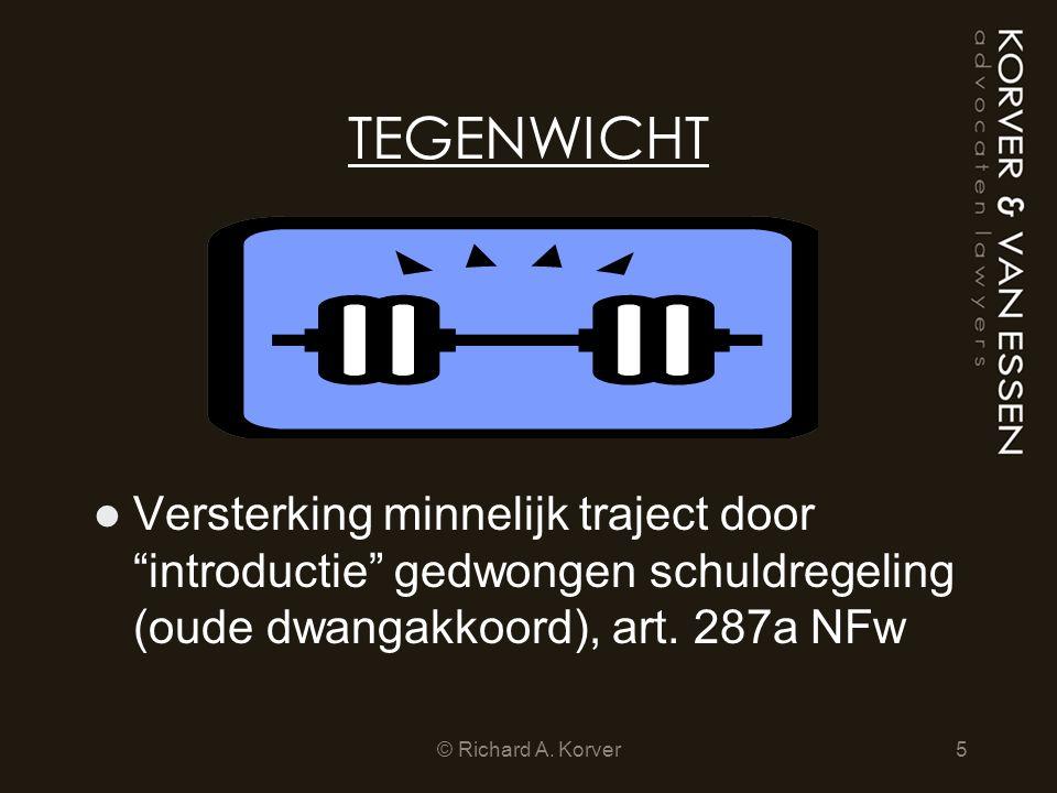 TEGENWICHT Versterking minnelijk traject door introductie gedwongen schuldregeling (oude dwangakkoord), art. 287a NFw.