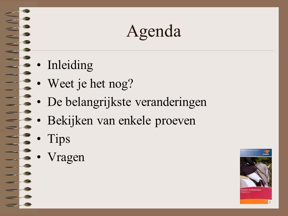 Agenda Inleiding Weet je het nog De belangrijkste veranderingen