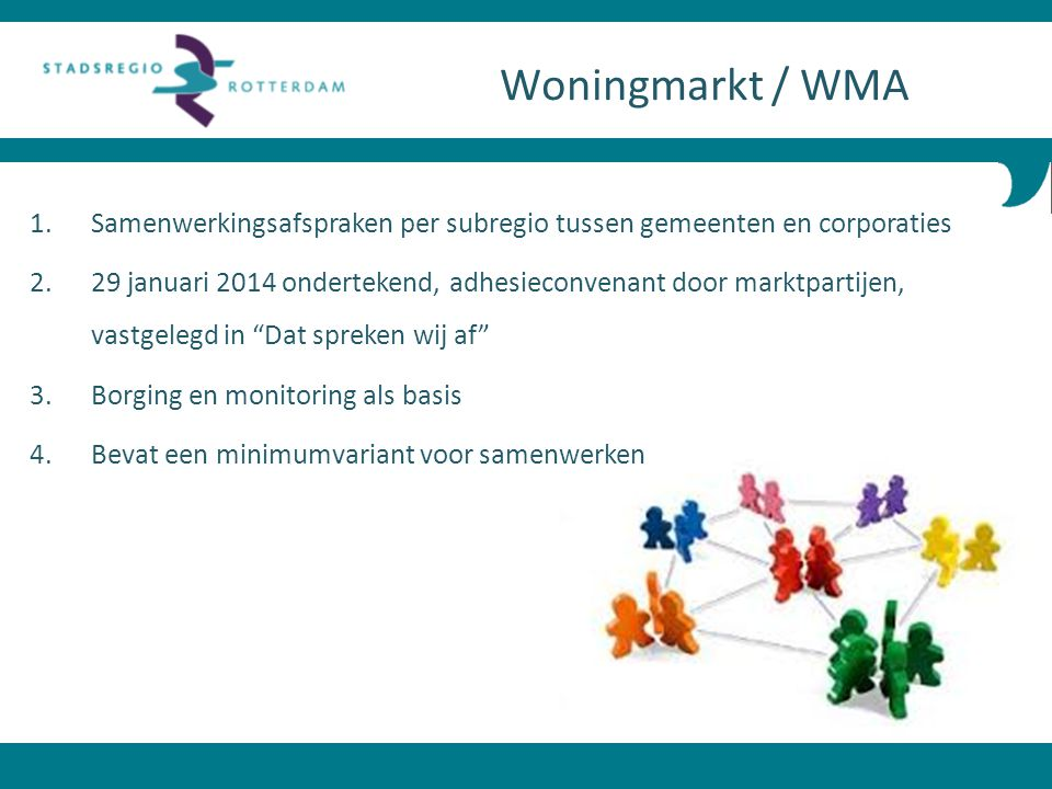 Woningmarkt / WMA Samenwerkingsafspraken per subregio tussen gemeenten en corporaties.