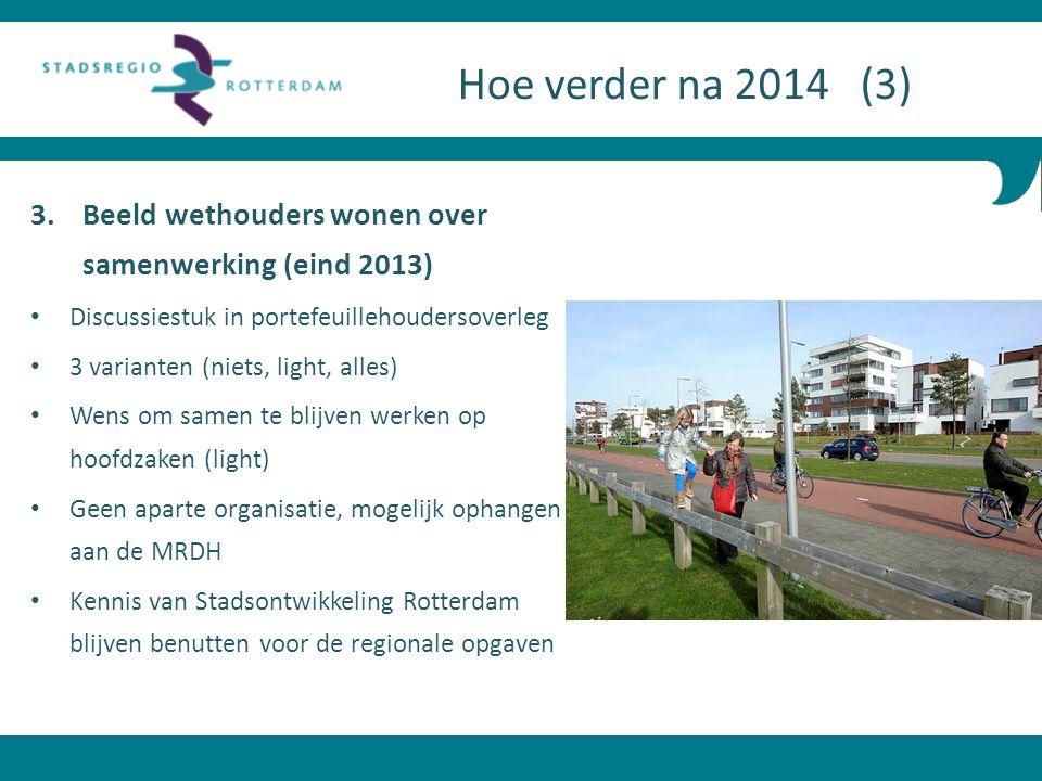 Hoe verder na 2014 (3) Beeld wethouders wonen over samenwerking (eind 2013) Discussiestuk in portefeuillehoudersoverleg.