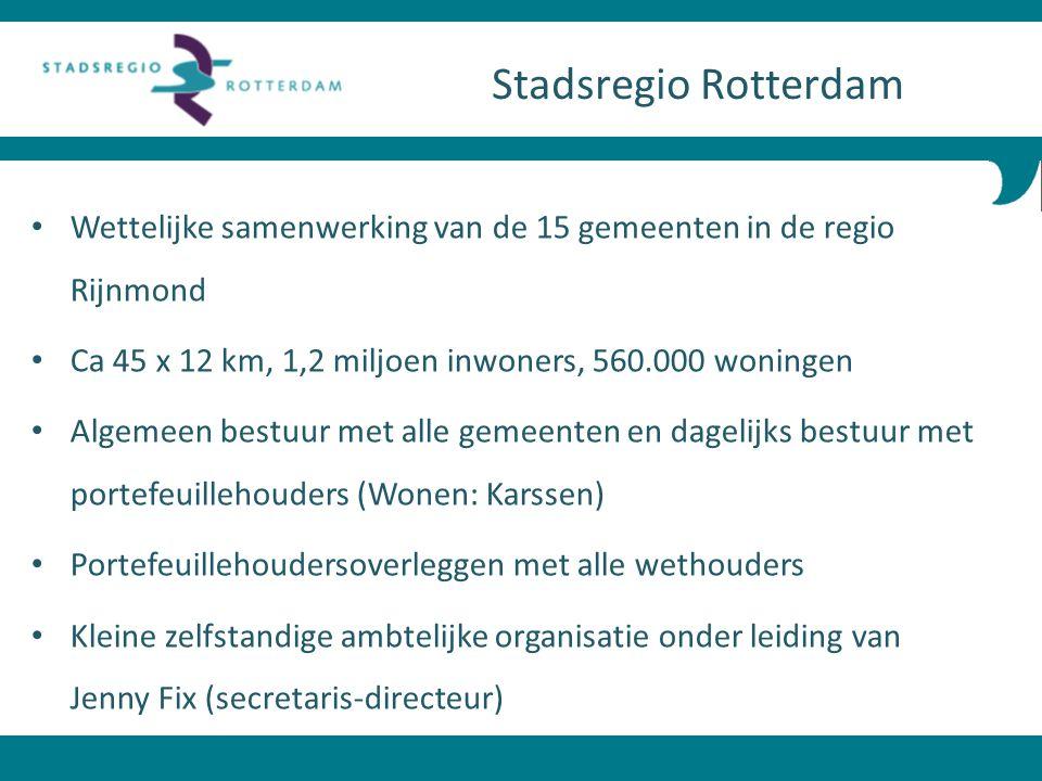 Stadsregio Rotterdam Wettelijke samenwerking van de 15 gemeenten in de regio Rijnmond. Ca 45 x 12 km, 1,2 miljoen inwoners, 560.000 woningen.