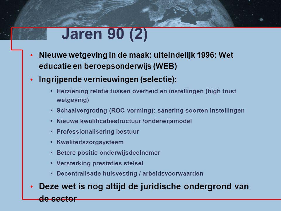 Jaren 90 (2) Nieuwe wetgeving in de maak: uiteindelijk 1996: Wet educatie en beroepsonderwijs (WEB)