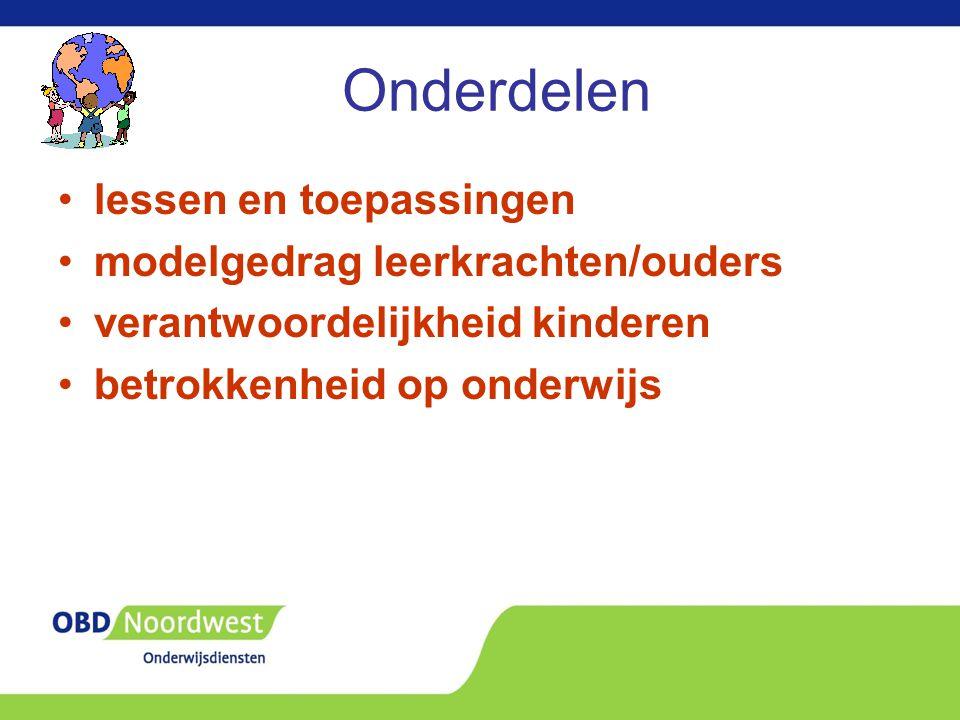 Onderdelen lessen en toepassingen modelgedrag leerkrachten/ouders