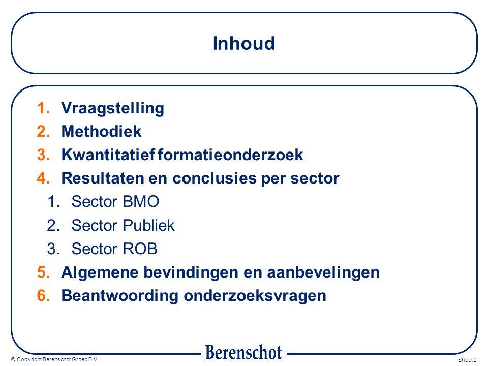Inhoud Vraagstelling Methodiek Kwantitatief formatieonderzoek