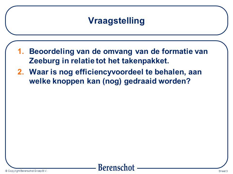 Vraagstelling Beoordeling van de omvang van de formatie van Zeeburg in relatie tot het takenpakket.