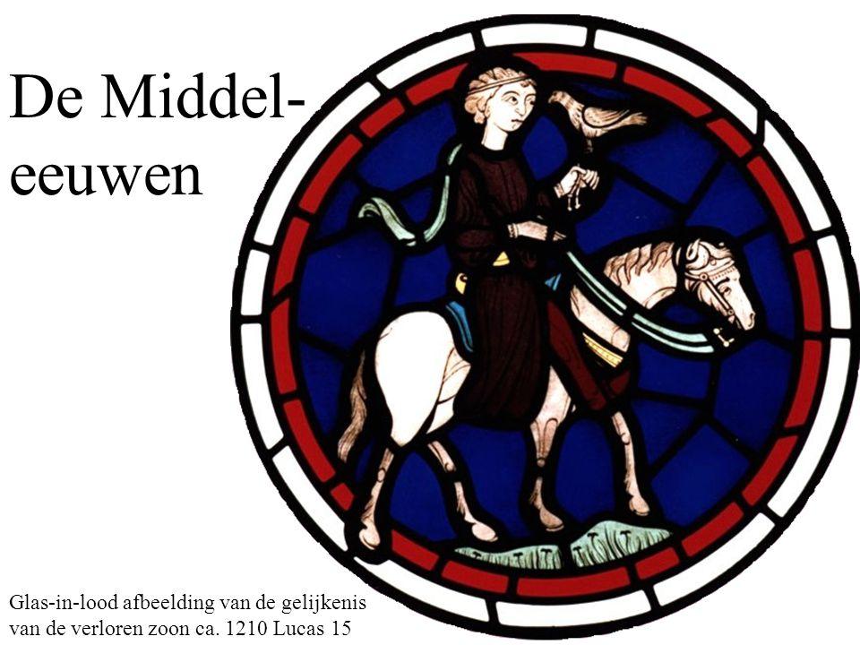 De Middel-eeuwen Glas-in-lood afbeelding van de gelijkenis van de verloren zoon ca. 1210 Lucas 15