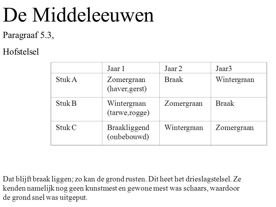 De Middeleeuwen Paragraaf 5.3, Hofstelsel Jaar 1 Jaar 2 Jaar3 Stuk A