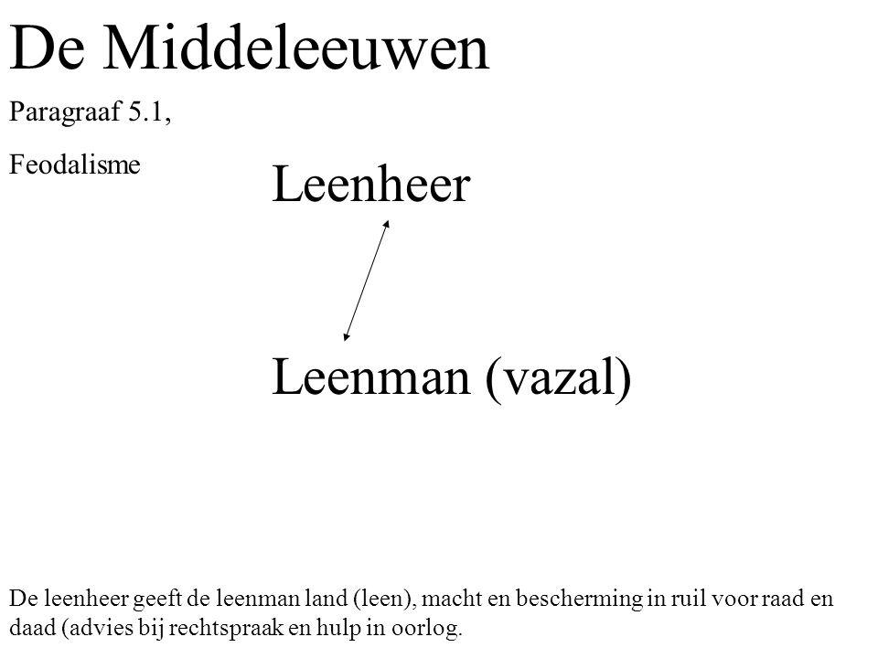 De Middeleeuwen Leenheer Leenman (vazal) Paragraaf 5.1, Feodalisme