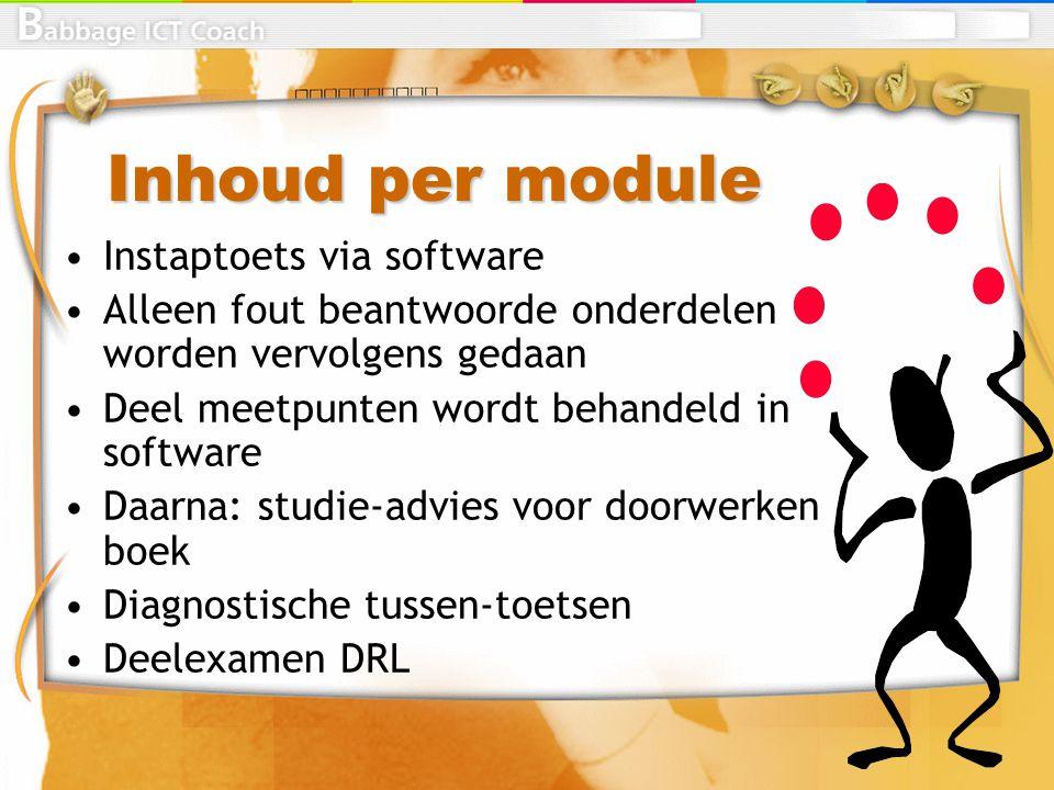 Inhoud per module Instaptoets via software