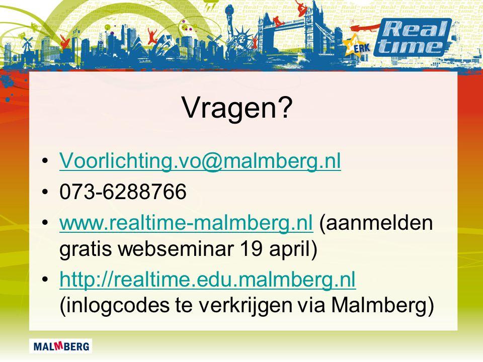 Vragen Voorlichting.vo@malmberg.nl 073-6288766