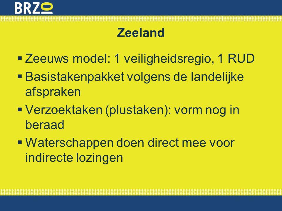 Zeeland Zeeuws model: 1 veiligheidsregio, 1 RUD. Basistakenpakket volgens de landelijke afspraken.