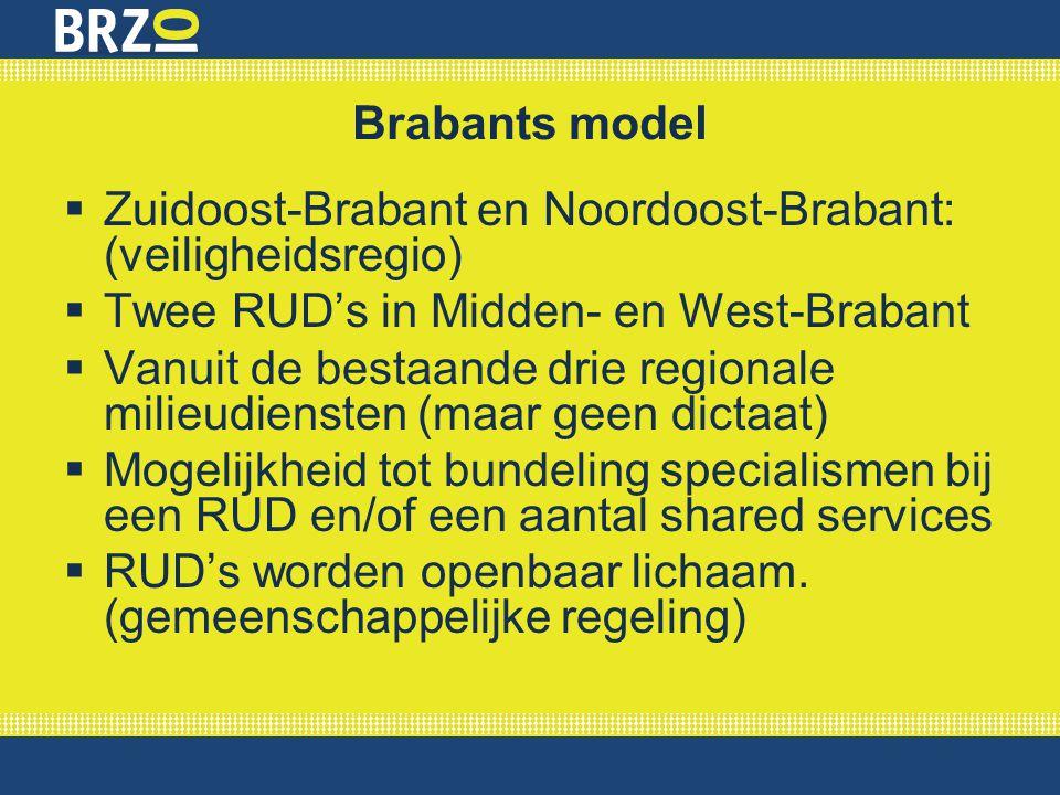 Brabants model Zuidoost-Brabant en Noordoost-Brabant: (veiligheidsregio) Twee RUD's in Midden- en West-Brabant.