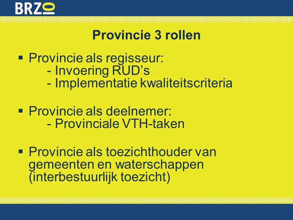 Provincie 3 rollen Provincie als regisseur: - Invoering RUD's - Implementatie kwaliteitscriteria.