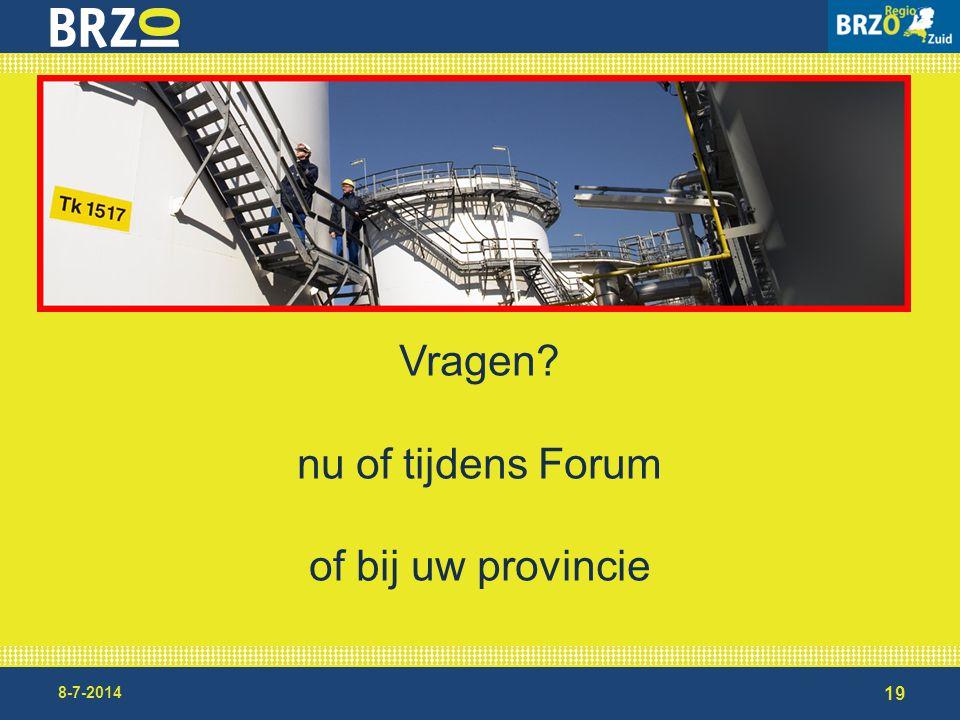 Vragen nu of tijdens Forum of bij uw provincie