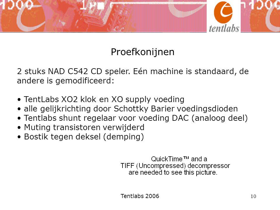Proefkonijnen 2 stuks NAD C542 CD speler. Eén machine is standaard, de andere is gemodificeerd: TentLabs XO2 klok en XO supply voeding.