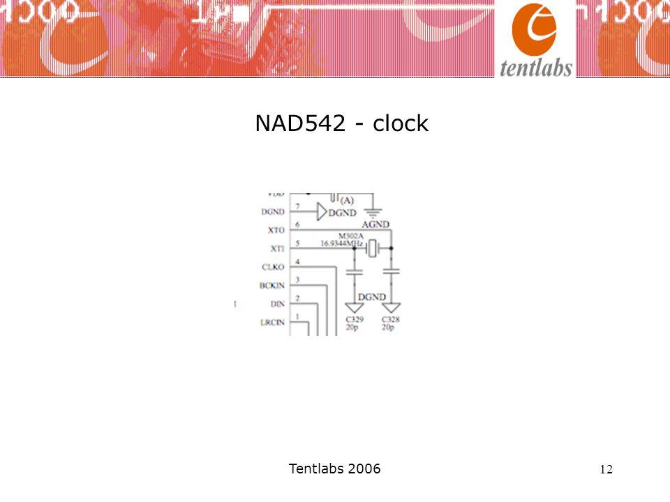 NAD542 - clock De Tentlabs XO2 clock wordt aangesloten tussen ground en XTI (pen 5). De XO2 module wordt gevoed door een Tentlabs XO supply.