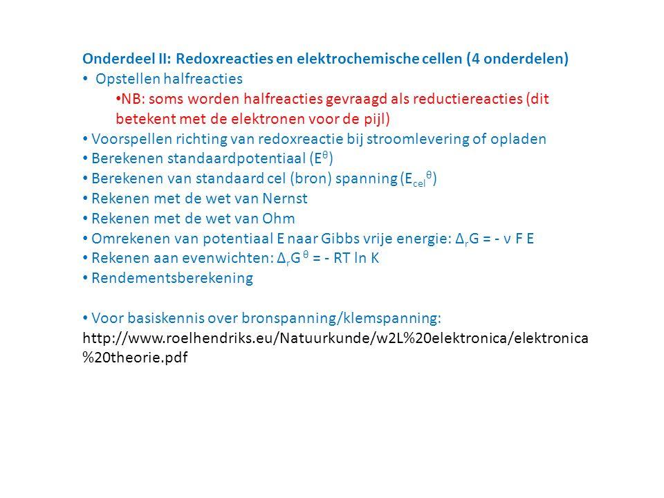Onderdeel II: Redoxreacties en elektrochemische cellen (4 onderdelen)