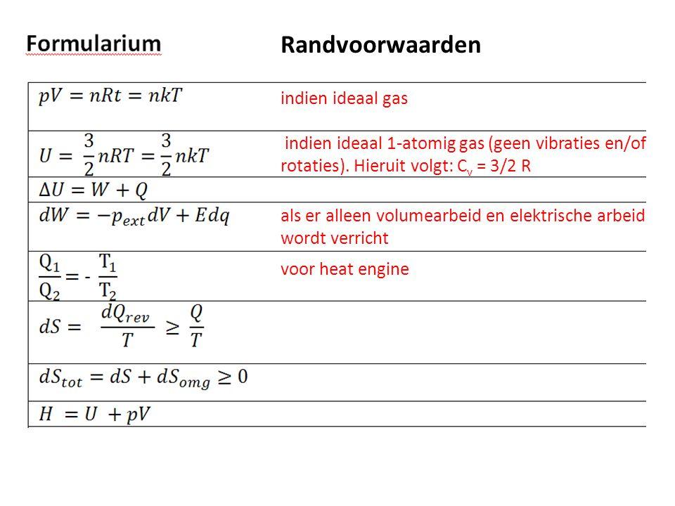 Randvoorwaarden indien ideaal gas