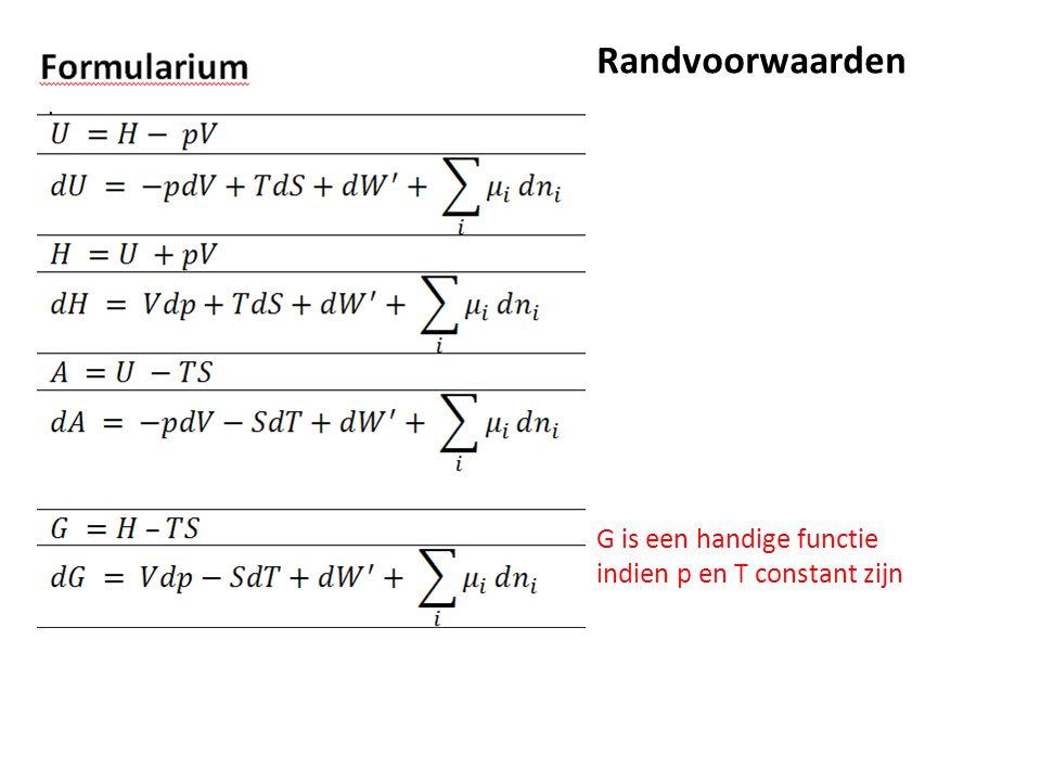 Randvoorwaarden G is een handige functie indien p en T constant zijn