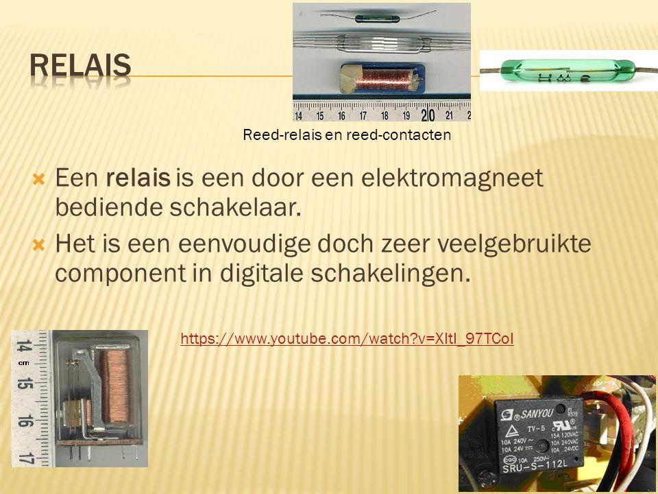 relais Een relais is een door een elektromagneet bediende schakelaar.