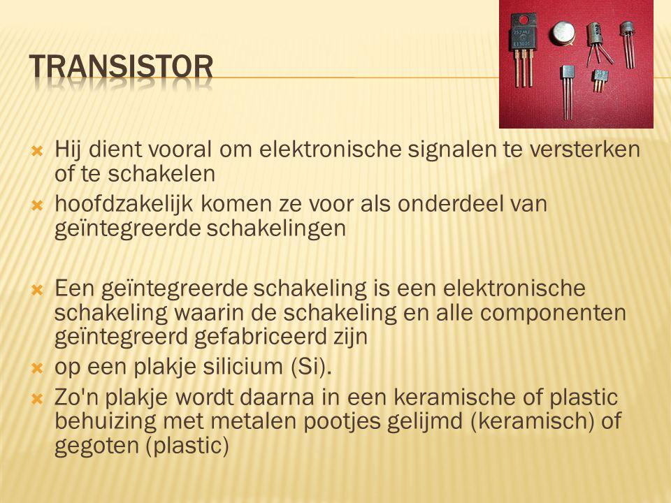 transistor Hij dient vooral om elektronische signalen te versterken of te schakelen.
