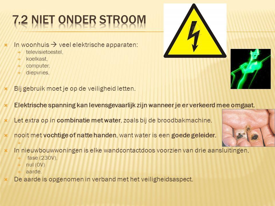 7.2 Niet onder stroom In woonhuis  veel elektrische apparaten: