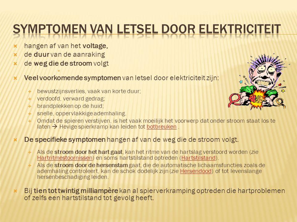 symptomen van letsel door elektriciteit