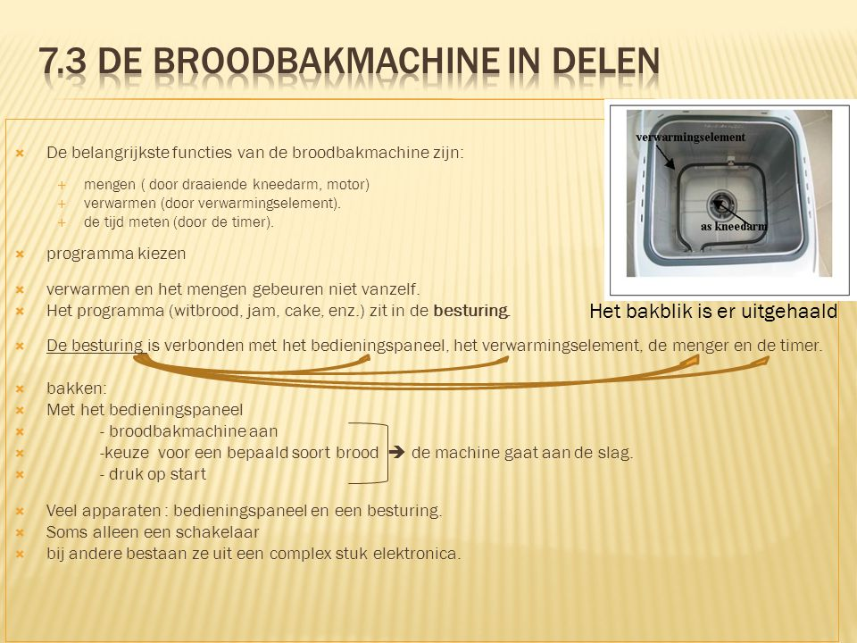 7.3 De broodbakmachine in delen