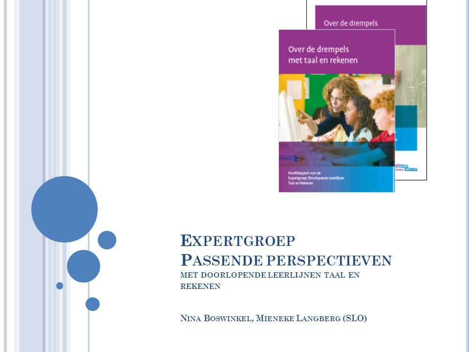 Expertgroep Passende perspectieven met doorlopende leerlijnen taal en rekenen Nina Boswinkel, Mieneke Langberg (SLO)