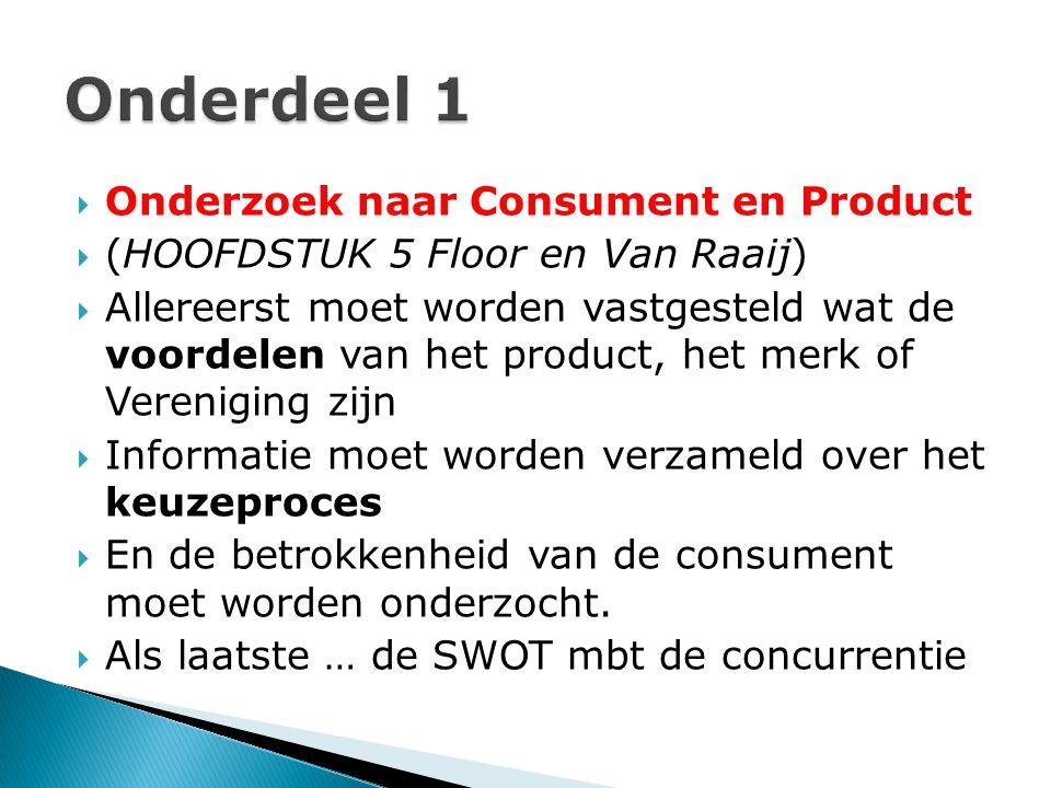 Onderdeel 1 Onderzoek naar Consument en Product