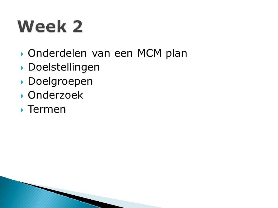 Week 2 Onderdelen van een MCM plan Doelstellingen Doelgroepen
