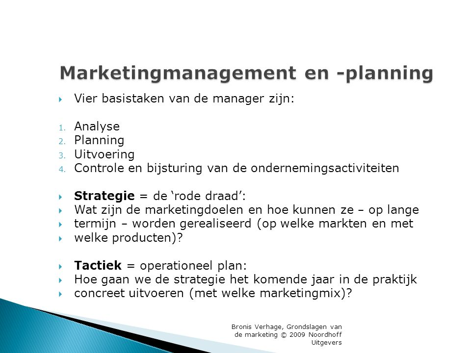 Marketingmanagement en -planning