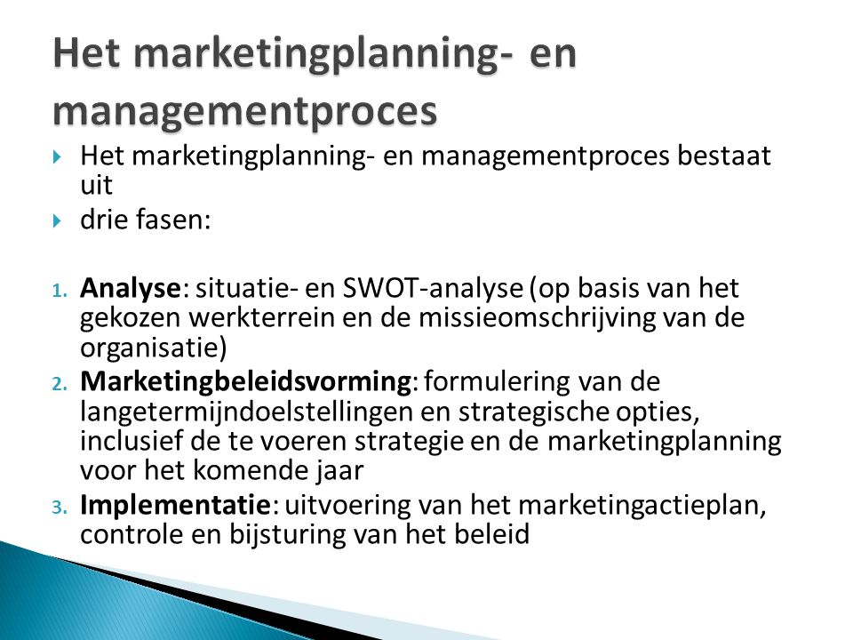 Het marketingplanning- en managementproces