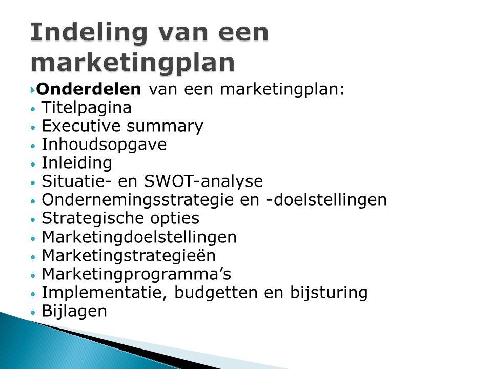 Indeling van een marketingplan