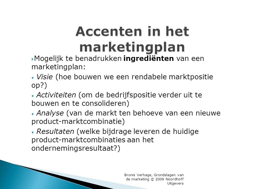Accenten in het marketingplan