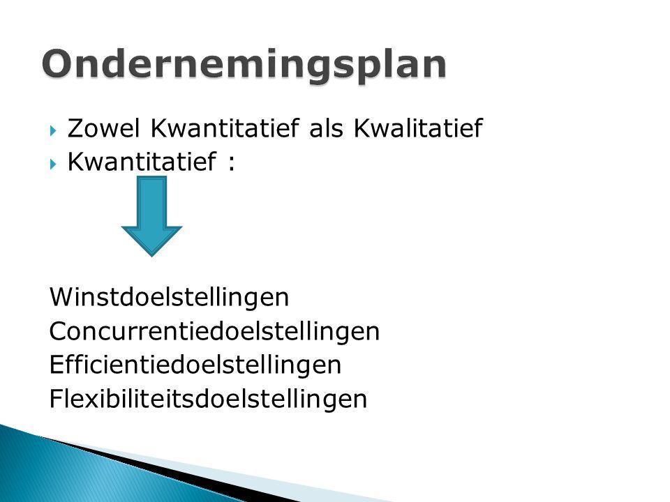Ondernemingsplan Zowel Kwantitatief als Kwalitatief Kwantitatief :