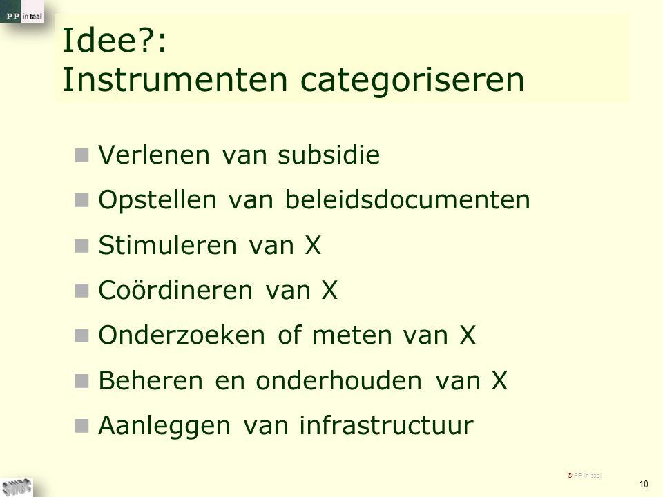 Idee : Instrumenten categoriseren