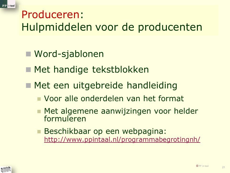 Produceren: Hulpmiddelen voor de producenten