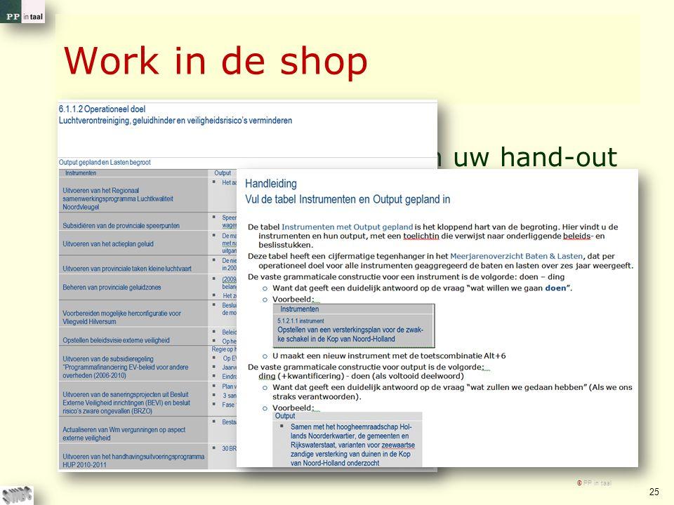 Work in de shop Wilt u de tabel uit 2010 in uw hand-out eens kritisch beschouwen En waar gewenst aanpassen.