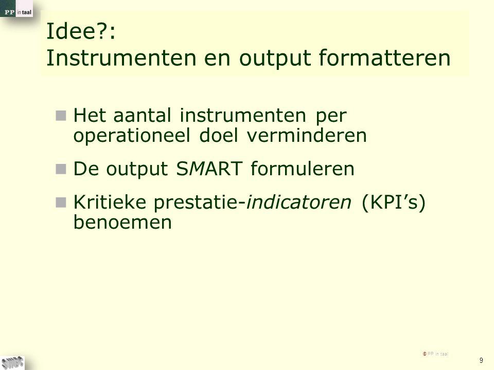 Idee : Instrumenten en output formatteren