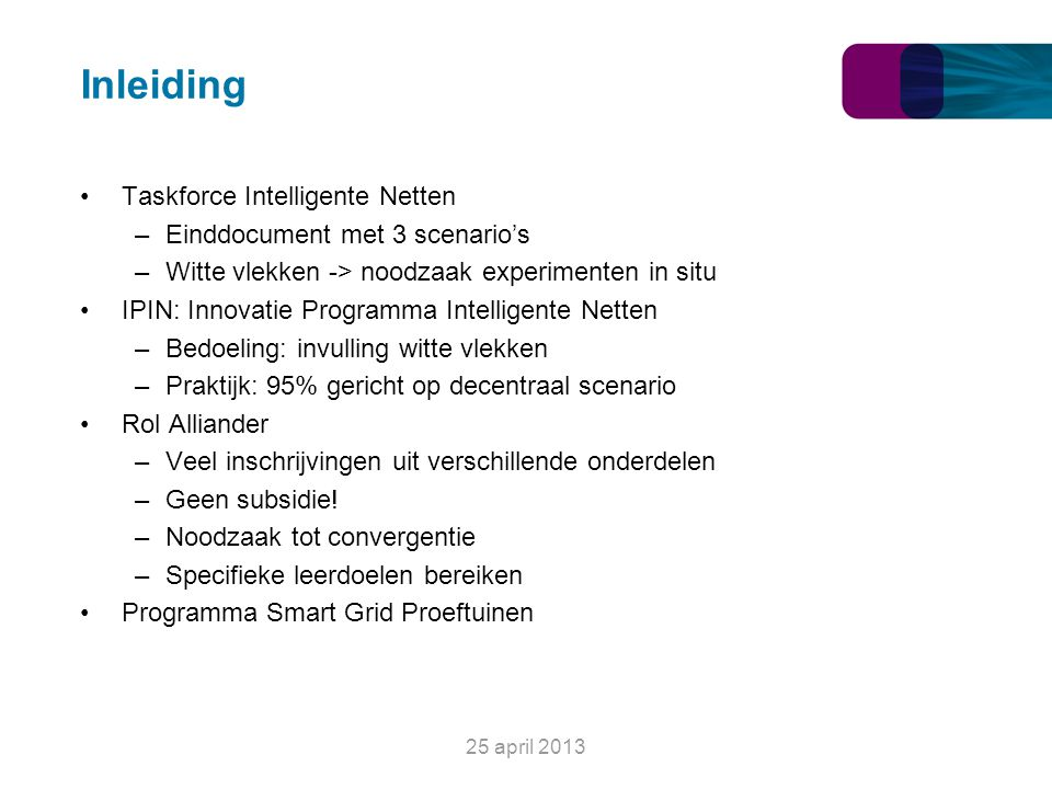 Inleiding Taskforce Intelligente Netten Einddocument met 3 scenario's